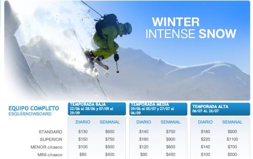 Rental de ski & snowboard 2013